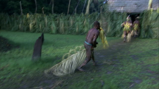 kaningara crocodile people perform at initiation ceremony, sepik, png  - polynesian culture stock videos and b-roll footage