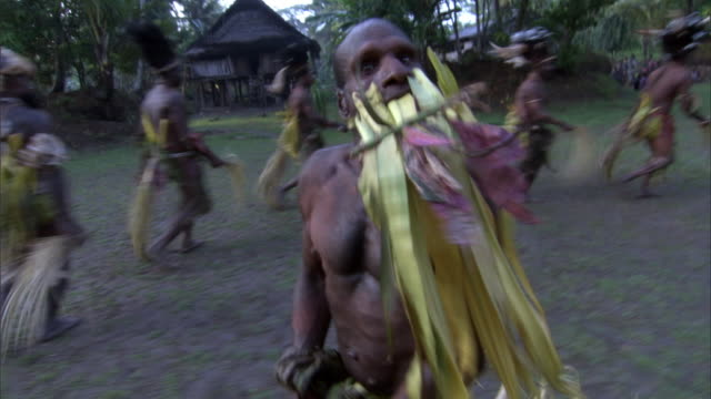 kaningara crocodile people perform at initiation ceremony, sepik, png  - papua new guinea stock videos and b-roll footage