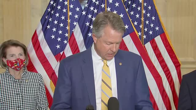 kansas senator roger marshall says at news conference with fellow senate republicans to call for reopening schools amid the coronavirus pandemic that... - all shirts stock-videos und b-roll-filmmaterial