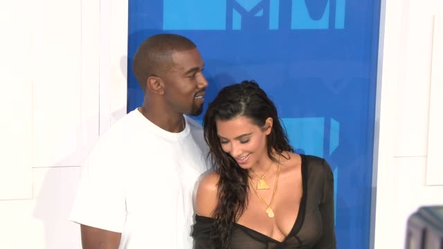Kanye West and Kim Kardashian at 2016 MTV Video Music Awards Arrivals at Madison Square Garden on August 28 2016 in New York City