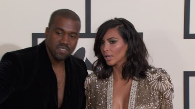 kanye west and kim kardashian at the 57th annual grammy awards - red carpet at staples center on february 08, 2015 in los angeles, california. - 2015 stock videos & royalty-free footage