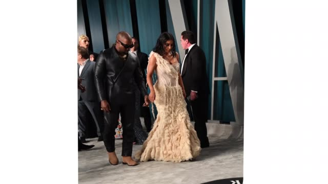 kanye west and kim kardashian attend the 2020 vanity fair oscar party hosted by radhika jones at wallis annenberg center for the performing arts on... - vanity fair oscar party stock videos & royalty-free footage