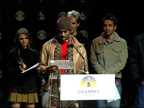 kanye west announces the grammy award nominees in the catagory best randb duo or group at the 2004 grammy awards nominations at the henry fonda music... - ノミネート点の映像素材/bロール
