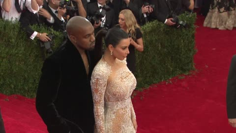 """kanye west, kim kardashian at """"china: through the looking glass"""" costume institute benefit gala - arrivals at metropolitan museum of art on may 04,... - 2015 stock videos & royalty-free footage"""