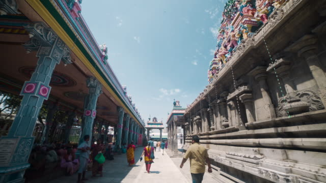 kapaleeswarar hindu temple. dolly shot, steadicam, walking motion - temple building stock videos & royalty-free footage