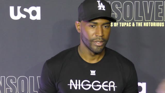 vídeos de stock, filmes e b-roll de karamo brown at premiere of usa network's 'unsolved: the murders of tupac and the notorious b.i.g.' in celebrity sightings in los angeles, - karamo brown