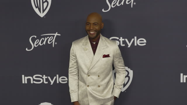 vídeos de stock, filmes e b-roll de karamo brown at the warner bros. and instyle host21st annual post-golden globes party at the beverly hilton hotel on january 5, 2020 in beverly... - karamo brown