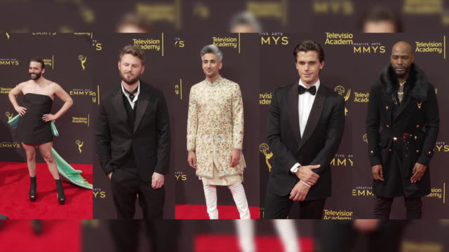 vídeos de stock e filmes b-roll de karamo brown, jonathan van ness, bobby berk, tan france and antoni porowski at the 2019 creative arts emmy awards - day 1 at microsoft theater on... - microsoft theater los angeles