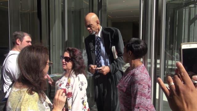 Kareem AbdulJabbar leaving SiriusXM Satellite Radio on September 23 2015 in New York City