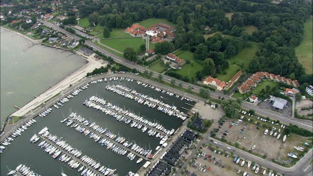 karen blixen's house at rungsted  - aerial view - capital region, hørsholm kommune, denmark - capital region stock videos and b-roll footage