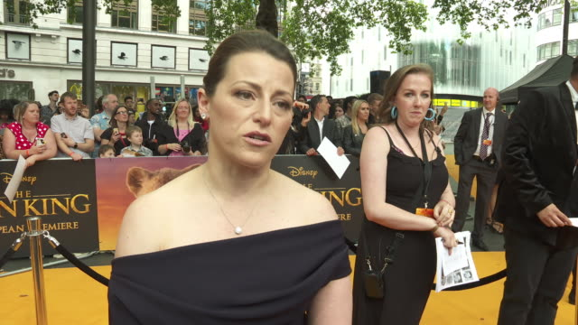 vídeos de stock e filmes b-roll de interview karen gilchrist producer the lion king on why disney were right to make a live action version of the animation at the lion king uk premiere... - meghan markle lion king