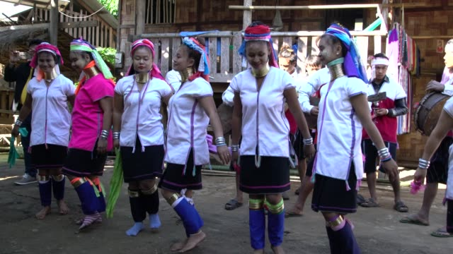 Karen Tribe Women From Long Neck Village In Northern Thailand Performing A Traditional Dance