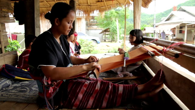 karen women are weaving - craft stock videos & royalty-free footage