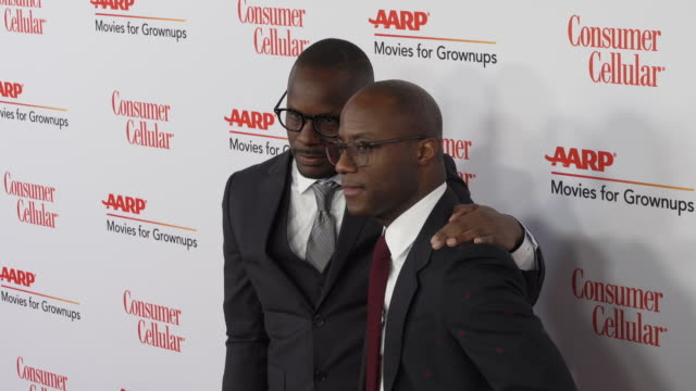 karim m. karefa-smart and barry jenkins at the 18th annual movies for grownups awards at the beverly wilshire four seasons hotel on february 04, 2019... - フォーシーズンズホテル点の映像素材/bロール