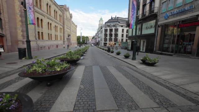 karl johans gate street in oslo, norway - orthographic symbol stock videos and b-roll footage