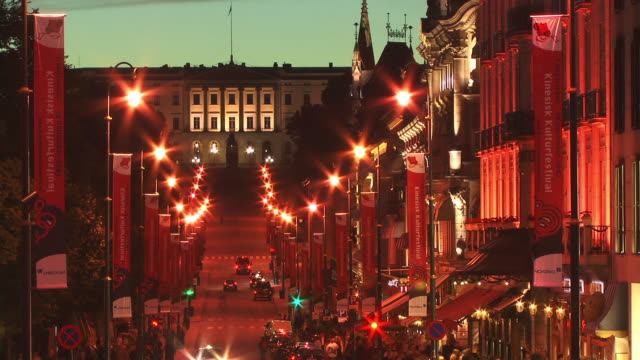 T/L, WS, HA, Karl Johansgate street with Royal Palace in background, dusk, Oslo, Norway