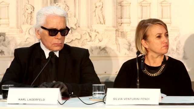 Karl Lagerfeld and Silvia Venturini Fendi at 'Fendi for Fountains' Press Conference at Campidoglio on January 28 2013 in Rome Italy