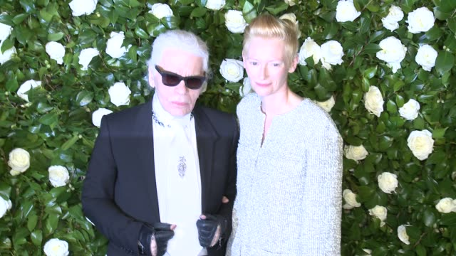 karl lagerfeld and tilda swinton at the museum of modern art 2013 film benefit a tribute to tilda swinton at the museum of modern art on in new york... - karl lagerfeld stock videos and b-roll footage