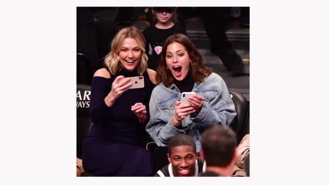 Karlie Kloss and Ashley Graham attend Milwaukee Bucks v Brooklyn Nets game at Barclays Center on April 1 2019 in New York City