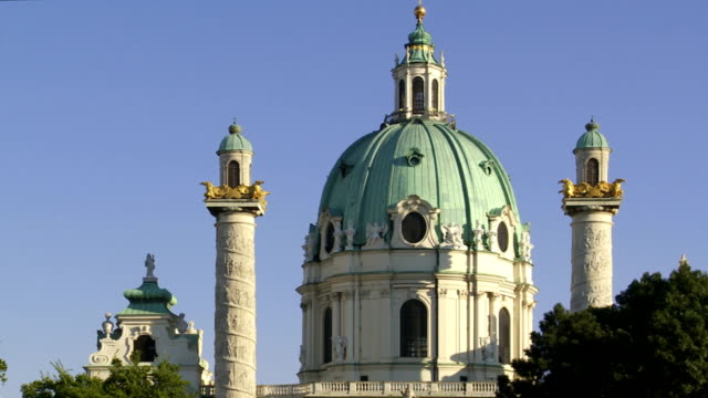 ms pan karlskirche (st. charles's church) in vienna - church stock videos & royalty-free footage