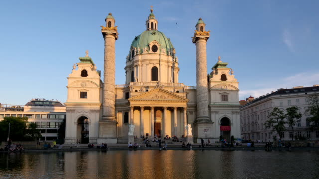 karlskirche timelapse day to night. - kirche stock videos and b-roll footage