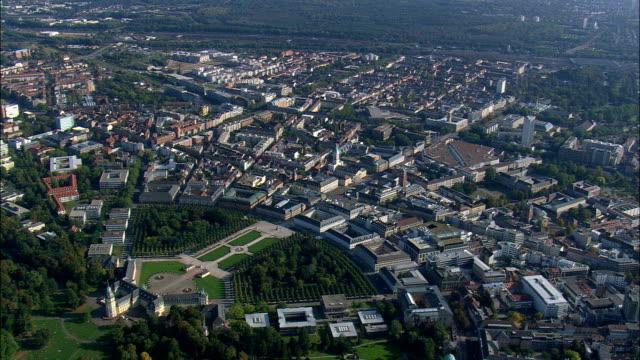 karlsruhe palace - aerial view - baden-württemberg,  karlsruhe region,  stadtkreis karlsruhe,  germany - baden wurttemberg stock videos and b-roll footage