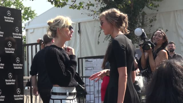 karolina kurkova and karlie kloss at spring 2014 mercedes-benz fashion week in new york, ny, on 9/11/13. - mercedes benz fashion week stock videos & royalty-free footage