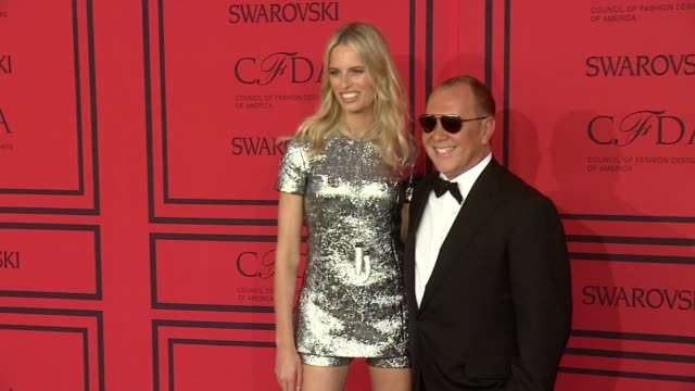karolina kurkova and michael kors at 2013 cfda fashion awards arrivals at alice tully hall on june 03 2013 in new york new york - karolina kurkova stock videos and b-roll footage
