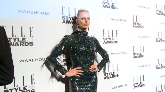 karolina kurkova at elle style awards arrivals at one embankment on february 18 2014 in london england - karolina kurkova stock videos and b-roll footage
