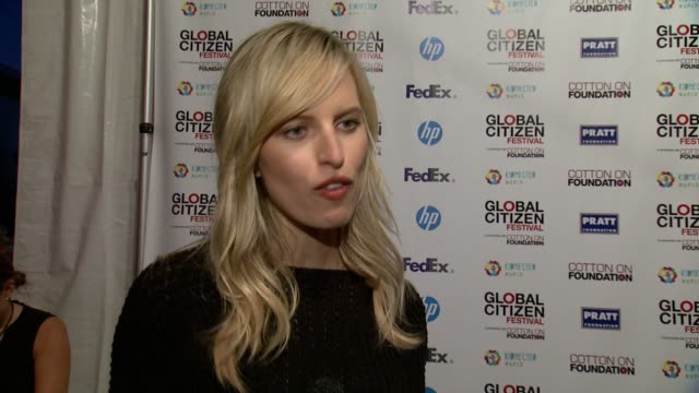 interview karolina kurkova on why she's at the global citizen festival again this year on hugh evans and his impact on what it means to be a global... - karolina kurkova stock videos and b-roll footage