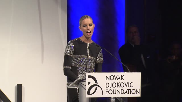speech karolina kurkova talks about being at the novak djokovic foundation is a great experience at the novak djokovic foundation new york dinner at... - karolina kurkova stock videos and b-roll footage