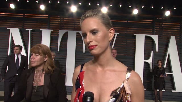 interview karolína kurková at the 2015 vanity fair oscar party hosted by graydon carter at wallis annenberg center for the performing arts on... - wallis annenberg center for the performing arts stock videos and b-roll footage