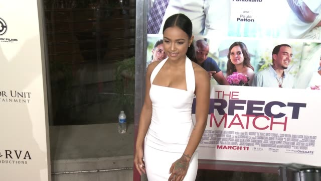karrueche tran at the perfect match los angeles premiere at arclight cinemas on march 07 2016 in hollywood california - arclight cinemas hollywood stock videos & royalty-free footage