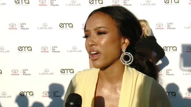 interview karrueche tran on why now more than ever it's important to support environment causes on what message she has for the victims affected by... - バーカーハンガー点の映像素材/bロール