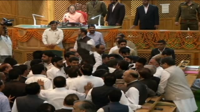 vídeos de stock, filmes e b-roll de kashmir india jammu kashmir assembly today witnessed pandemonium created by members of opposition lawmakers national conference congress and cpi with... - legislação