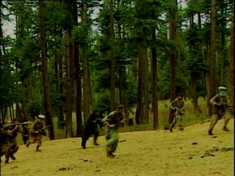kashmir militant rebels with covered faces walk near forest carrying ak 47's kashmir; 2001 - made in the usa kort fras bildbanksvideor och videomaterial från bakom kulisserna