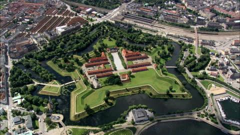 kastellet - aerial view - capital region, copenhagen municipality, denmark - fortress stock videos & royalty-free footage