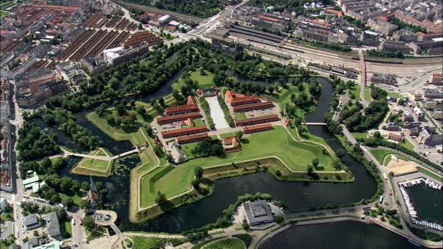 kastellet - aerial view - capital region, copenhagen municipality, denmark - fortress stock videos & royalty-free footage