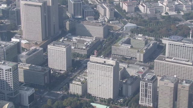 aerial, kasumigaseki, the administrative district of japan - moat stock videos & royalty-free footage