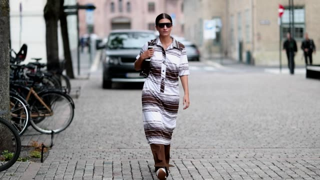 Katarina Petrovic is seen outside Line of Oslo during Oslo Runway SS19 on August 15 2018 in Oslo Norway