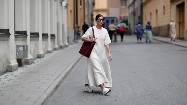 katarina petrovic wearing white dress and bag on august 28, 2018 in stockholm, sweden. - white dress stock videos & royalty-free footage