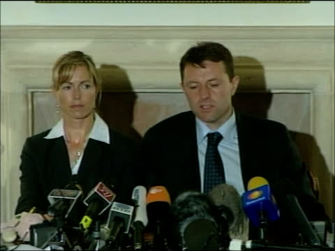 kate and gerry mccann press conference; gerry mccann sot - no immediate plans to go to sweden / we hope and pray this will be over before we get to... - witness stock videos & royalty-free footage