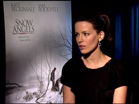 kate beckinsale on her fondness for the film at the 'snow angels' press junket at null in los angeles, california on february 27, 2008. - kate snow stock videos & royalty-free footage