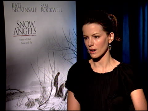 kate beckinsale on what all of her roles have in common, and on being a mother at the 'snow angels' press junket at null in los angeles, california... - kate snow stock videos & royalty-free footage