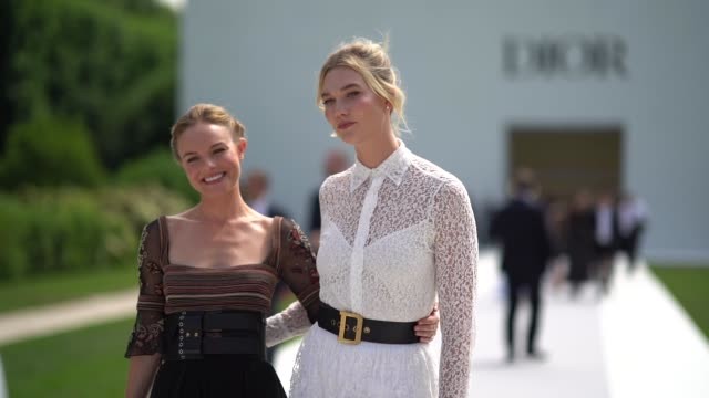 kate bosworth and karlie kloss after the dior show during paris fashion week haute couture fall winter 2018/2019 on july 2 2018 in paris france - kate bosworth stock-videos und b-roll-filmmaterial