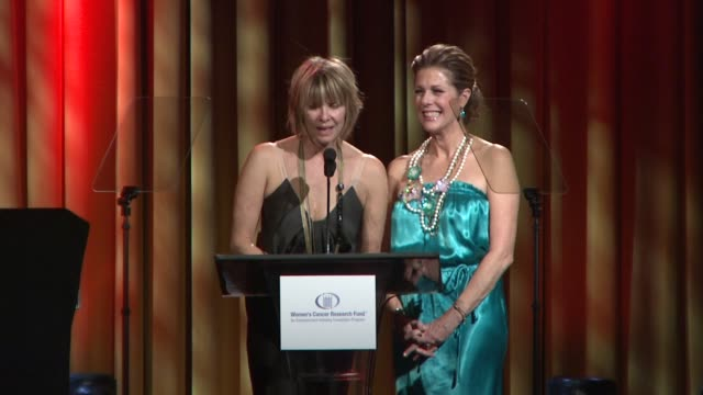 kate capshaw rita wilson introducing gwyneth paltrow at the saks fifth avenue's 'an unforgettable evening' at los angeles ca - gwyneth paltrow stock videos and b-roll footage