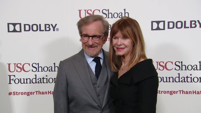 kate capshaw steven spielberg at kate capshaw steven spielberg and usc shoah foundation honor rita wilson tom hanks at ambassadors for humanity gala... - martin short stock videos & royalty-free footage