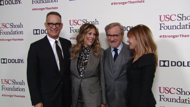 kate capshaw steven spielberg rita wilson tom hanks at kate capshaw steven spielberg and usc shoah foundation honor rita wilson tom hanks at... - martin short stock videos & royalty-free footage