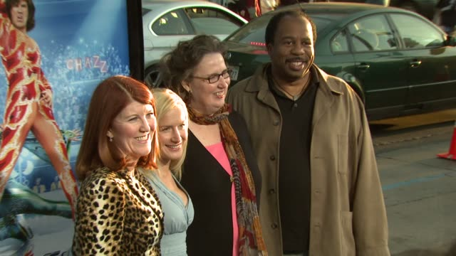 kate flannery angela kinsey phyllis smith and leslie david baker at the 'blades of glory' premiere at grauman's chinese theatre in hollywood... - angela kinsey stock videos and b-roll footage