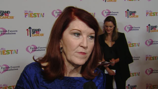 """interview kate flannery on the event at the farrah fawcett foundation's """"texmex fiesta"""" in los angeles ca - farrah fawcett stock videos and b-roll footage"""